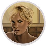 Charlize Theron Painting Round Beach Towel