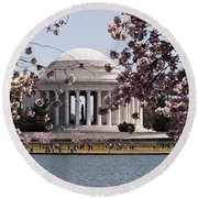 Cherry Blossom Trees In The Tidal Basin Round Beach Towel
