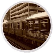 Round Beach Towel featuring the photograph Chicago Cta by Miguel Winterpacht