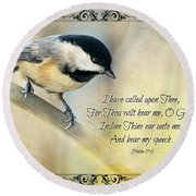 Chickadee With Verse Round Beach Towel