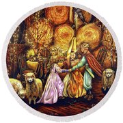 Children's Enchantment Round Beach Towel by Linda Simon