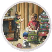 Round Beach Towel featuring the painting Christmas Time by Lori Brackett
