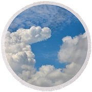 Clouds In The Sky Round Beach Towel