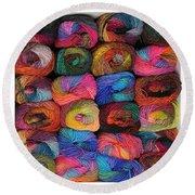 Colorful Knitting Yarn Round Beach Towel
