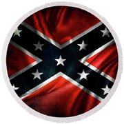 Confederate Flag 1 Round Beach Towel