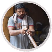Round Beach Towel featuring the photograph Cooking Breakfast Early Morning Lahore Pakistan by Imran Ahmed