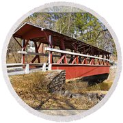 Covered Bridge In Pa. Round Beach Towel