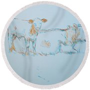 Cow Painting Round Beach Towel