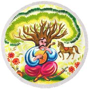 Cossack Mamay Round Beach Towel by Oleg Zavarzin