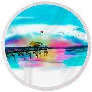 Round Beach Towel featuring the digital art Daybreak At Pawleys Island by Frank Bright