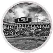 Death Valley - Hdr Bw Round Beach Towel