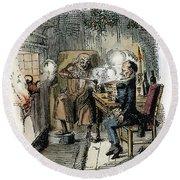 Dickens Christmas Carol, 1843 Round Beach Towel