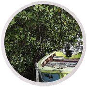 Round Beach Towel featuring the photograph Docked By The Mangrove Trees by Lilliana Mendez