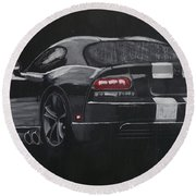 Round Beach Towel featuring the painting Dodge Viper 1 by Richard Le Page