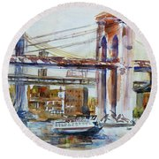 Round Beach Towel featuring the painting Downtown Bridge by Xueling Zou