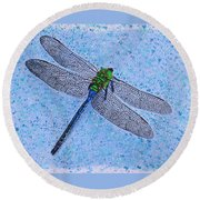 Round Beach Towel featuring the painting Dragonfly by Deborah Boyd