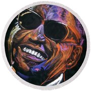 electric Ray Charles Round Beach Towel by Peter Suhocke