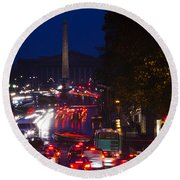 Elevated View Of Traffic On The Road Round Beach Towel