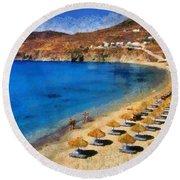 Elia Beach In Mykonos Island Round Beach Towel