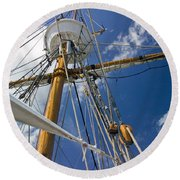 Round Beach Towel featuring the photograph Elizabeth II Mast Rigging by Greg Reed