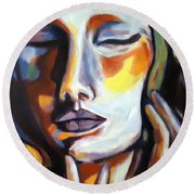 Round Beach Towel featuring the painting Emotion by Helena Wierzbicki
