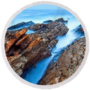 Eternal Tides - The Strange Jagged Rocks And Cliffs Of Montana De Oro State Park In California Round Beach Towel