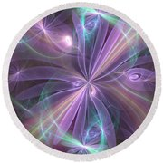 Ethereal Flower In Violet Round Beach Towel