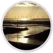 Evening Low Tide  Round Beach Towel