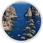 Faraglioni In Capri Round Beach Towel