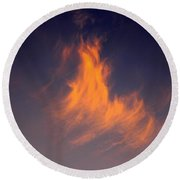 Round Beach Towel featuring the photograph Fire In The Sky by Jeanette C Landstrom