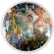 Fireworks Cinderellas Castle Walt Disney World Round Beach Towel