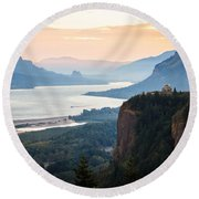 First Light Round Beach Towel by Patricia Babbitt