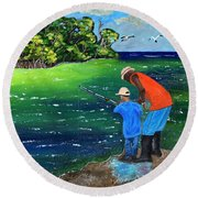 Fishing Buddies Round Beach Towel by Laura Forde