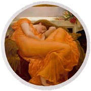 Round Beach Towel featuring the painting Flaming June by Frederick Leighton