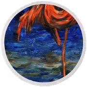 Round Beach Towel featuring the painting Flamingo by Xueling Zou