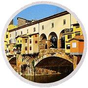 Florence Italy Ponte Vecchio Round Beach Towel
