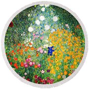 Round Beach Towel featuring the painting Flower Garden by Gustav Klimt