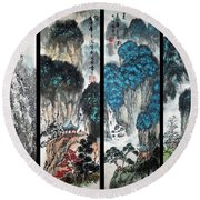 Round Beach Towel featuring the photograph Four Seasons In Harmony by Yufeng Wang