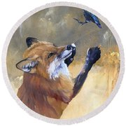 Fox Dances For Hummingbird Round Beach Towel