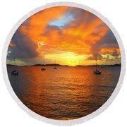 Frank Bay St. John U. S. Virgin Islands Sunset Round Beach Towel