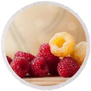 Ripe Red And Golden Raspberry Fruits In Pile  Round Beach Towel by Arletta Cwalina