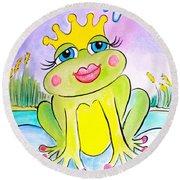 Frog Princess Round Beach Towel