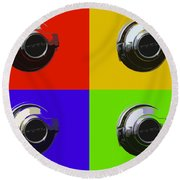 Fuel Cap In Bold Color Round Beach Towel