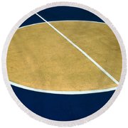Geometry On The Basketball Court Round Beach Towel by Gary Slawsky