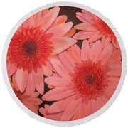 Round Beach Towel featuring the painting Gerber Daisies by Sharon Duguay
