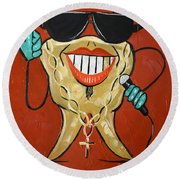 Round Beach Towel featuring the painting Gold Tooth by Anthony Falbo