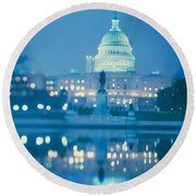Government Building Lit Up At Night Round Beach Towel
