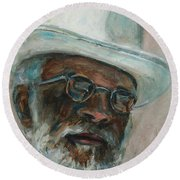 Gray Beard Under White Hat Round Beach Towel