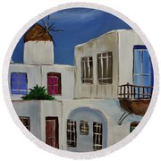 Round Beach Towel featuring the painting Greek Village by Janice Rae Pariza