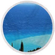 green and blue Erikousa Round Beach Towel by George Katechis
